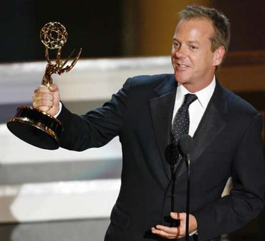 Kiefer Sutherland with his Emmy