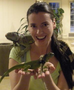 Susane Colasanti with iguanas