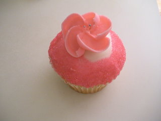 Pink flower cupcake at Crumbs