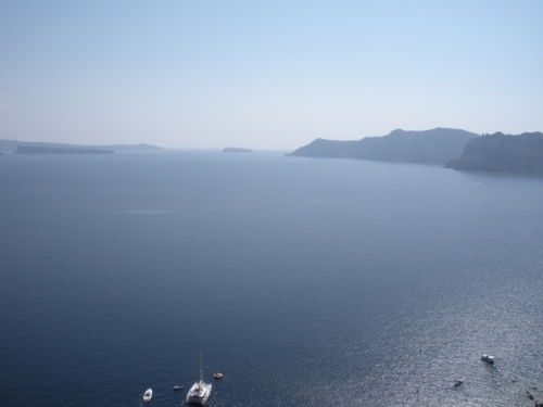 Hotel room view in Santorini
