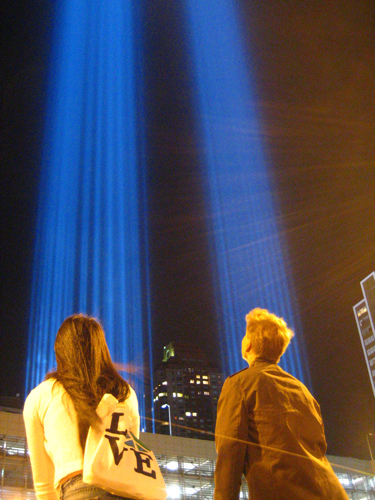 Susane Colasanti, Stephen Venters, and the Tribute in Light, 2008