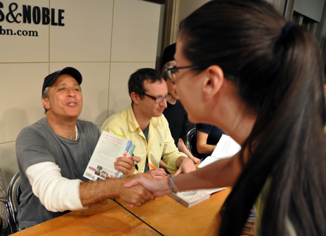Jon Stewart and Susane Colasanti at an Earth signing