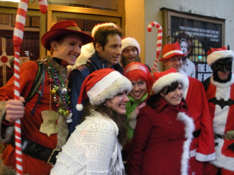 David Duchovny with SantaCon Santas