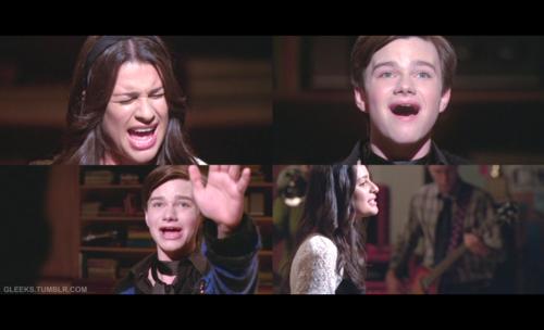"Rachel and Kurt diva-offing ""Defying Gravity"" on Glee"