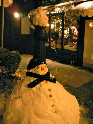 Snowmen chilling in New York City