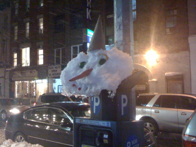 Parking meter snowman