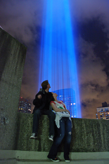 Stephen Venters and Susane Colasanti at the Tribute in Light, 9.11.10
