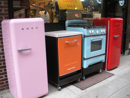 Adorable vintage pink and red Smeg refrigerators