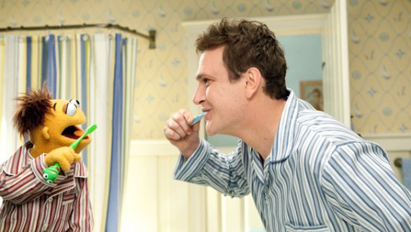 Walter and Jason Segel in The Muppets