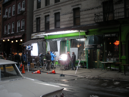Inside Llewyn Davis filming at Caffe Reggio