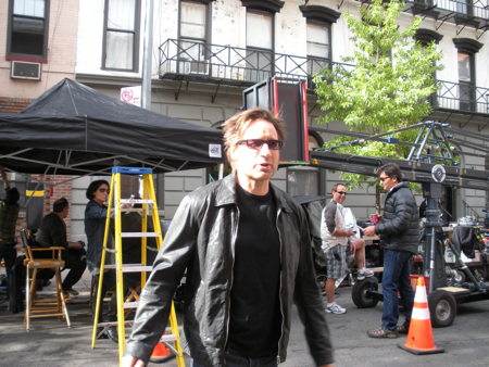 David Duchovny filming Californication in the West Village