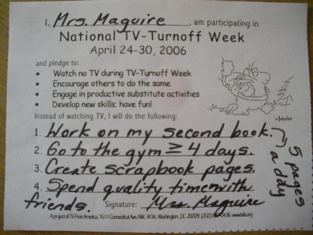 Susane Colasanti's National TV-Turnoff Week pledge form