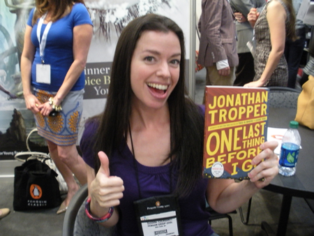 Susane Colasanti with an ARC of Jonathan Tropper's One Last Thing Before I Go