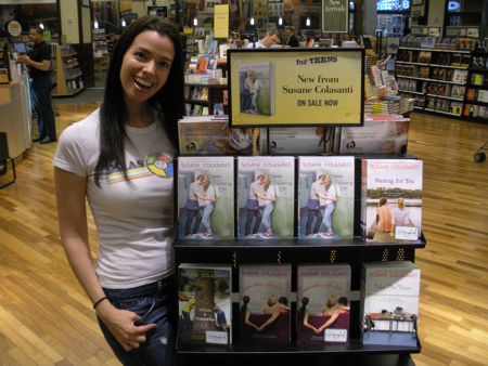 Susane Colasanti and the Keep Holding On display at Barnes & Noble