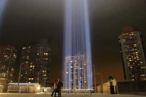Susane Colasanti and Stephen Venters at the Tribute in Light on September 11, 2011