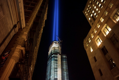 Tribute in Light for September 11, 2012