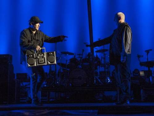 "John Cusack, Peter Gabriel and boombox during ""In Your Eyes"""