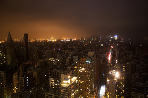 Lower Manhattan blackout during Hurricane Sandy