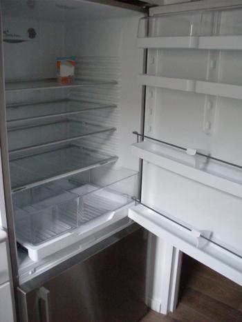 Empty refrigerator after Hurricane Sandy