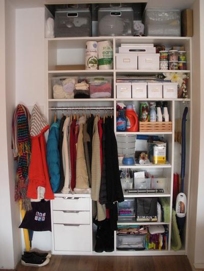 Front closet awaiting doors