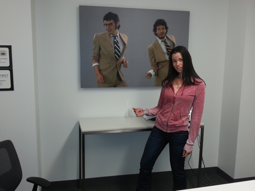Susane Colasanti in the Flight of the Conchords conference room