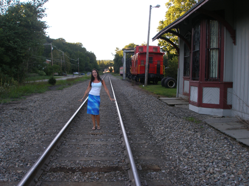 Susane Colasanti at The Station Agent train depot, Newfoundland, New Jersey