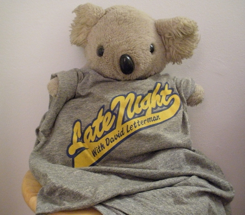 Chez in his Late Night with David Letterman tee
