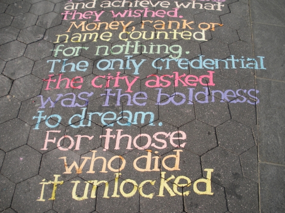 New York City sidewalk chalk