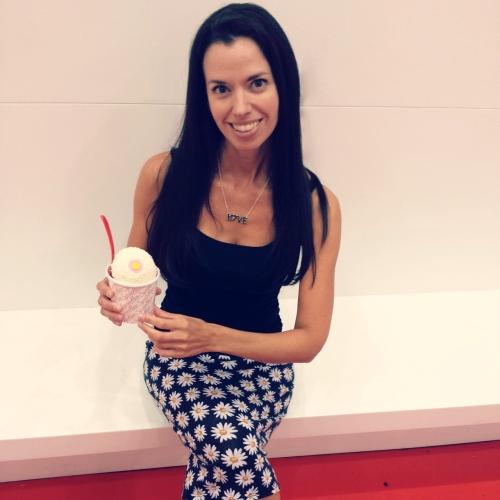 Susane Colasanti with a Sprinkles Ice Cream sundae