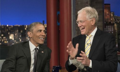 President Barack Obama and David Letterman, May 4, 2015