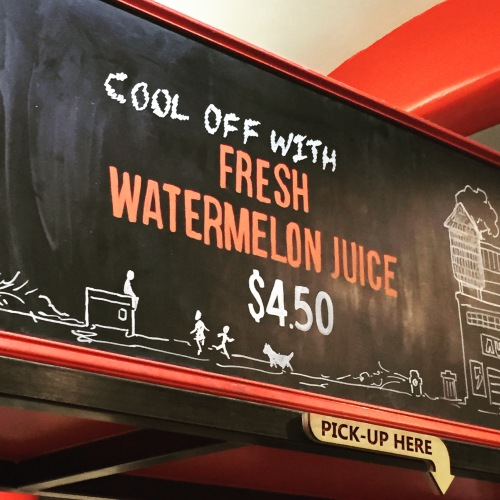 Fresh watermelon juice at Chelsea Market