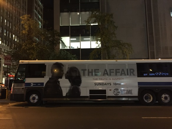 The Affair ad on a New York City bus