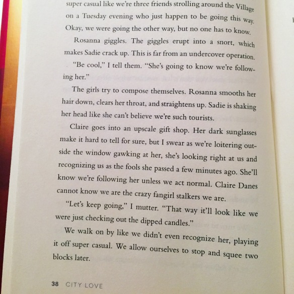 Claire Danes in City Love by Susane Colasanti