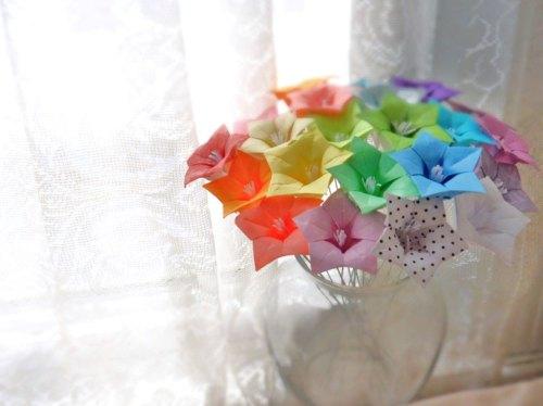 Paper rainbow flowers