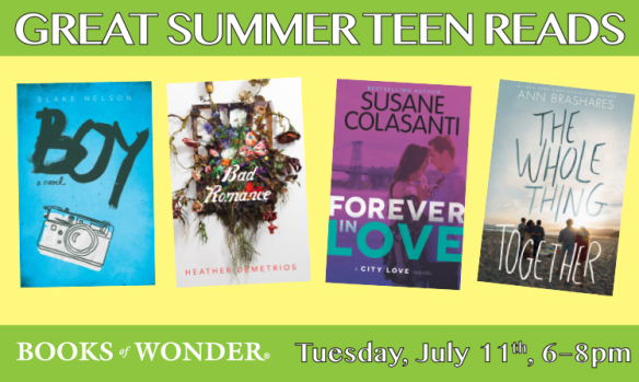 Great Summer Teen Reads event at Books of Wonder, July 11, 2017