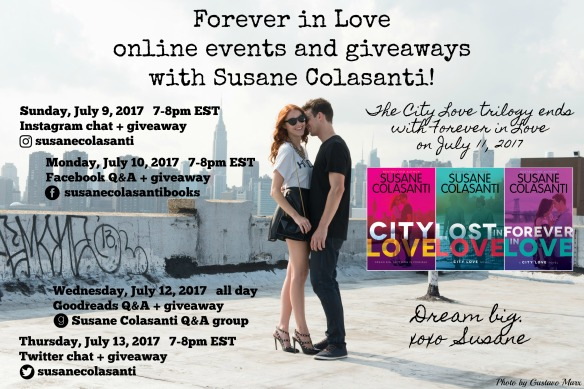 Forever in Love online events and giveaways with Susane Colasanti!