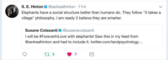 S.E. Hinton on elephants